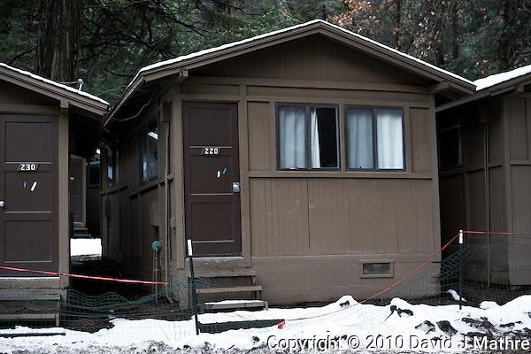 Curry Village Cabin #228. Nikonians 2010 Yosemite Winter Workshop Day 1.  Image Taken