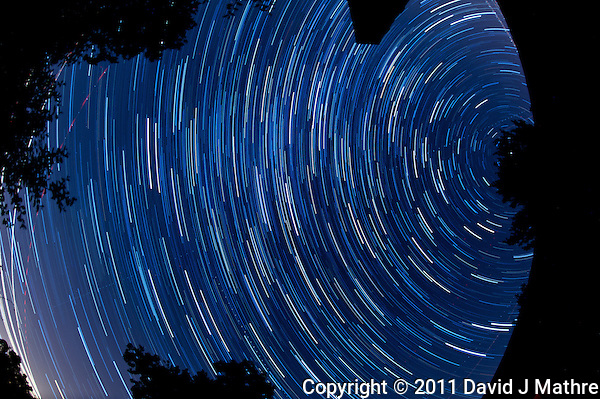 North View Star Trails. Summer Night in New Jersey. Image taken with a Nikon D3s and 16 mm f/2.8 mm Fisheye lens (ISO 400, 16 mm, f/4, 59 sec). Composite of 60 images combined using the Startrails program. (David J Mathre)