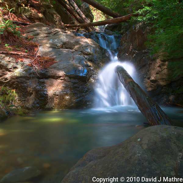 Redwood Gulch Waterfall, HDR Exercise. Image(s) taken with a Nikon D3x and 24 mm f/3.5 PC-E lens Singh-Ray filters (ISO 100, 24 mm, f/16, 2.5 to 30 sec). Raw image processed with Capture One Pro, HDR Express: Linear. (David J Mathre)