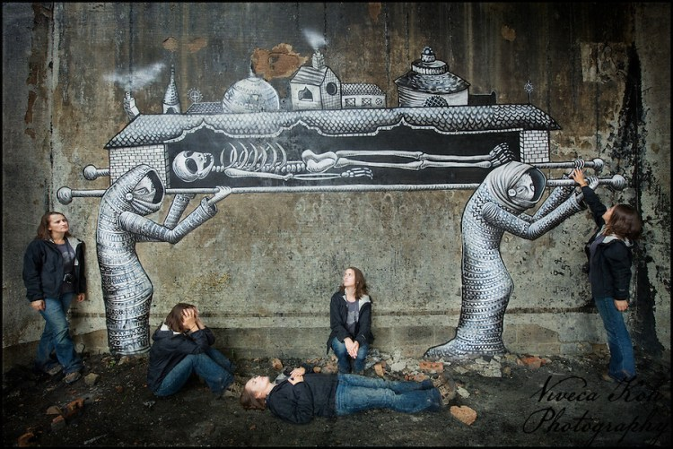Multiplicity self portrait with artwork by Phlegm, Sheffield (Viveca Koh)