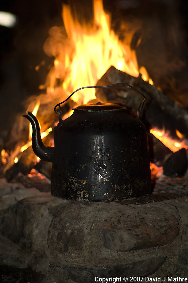 Coffee Pot on a Wood Fire. Image taken with a Nikon D2xs and 85 mm f/1.4D lens (ISO 200, 85 mm, f/1.4, 1/60 sec) and fill flash. (David J. Mathre)