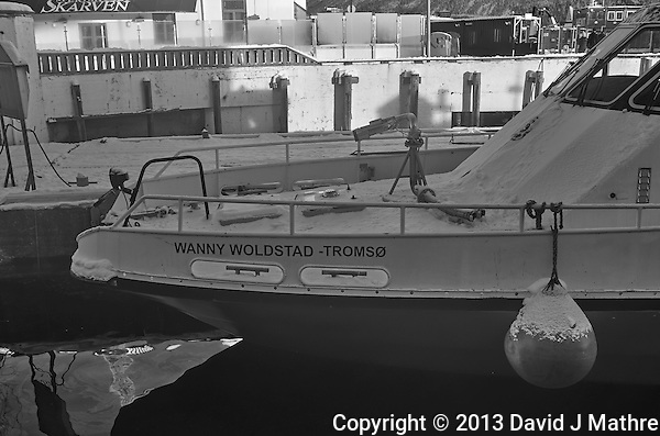 Wanny Woldstad -- Tromsø fire and rescue boat. Image taken with a Leica X2 camera (ISO 100, 24 mm, f/5.6, 1/80 sec). Raw image processed with Capture One Pro (including conversion to B&W). (David J Mathre)