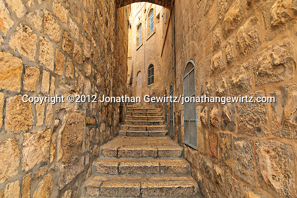 A narrow street in the Jewish Quarter of the Old City of Jerusalem. (© 2012 Jonathan Gewirtz / jonathan@gewirtz.net)