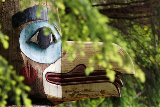 Replica of Raven at the Head of Nass totem pole, Totem Bight State Historical Park, Ketchikan, Alaska (Copyright Brad Mitchell Photography.9601 Wall St.Snohomish, WA 98296.USA.425-418-7279.brad@bradmitchellphoto.com)