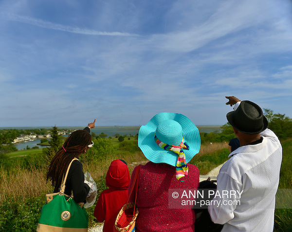 At Norman J Levy Park & Preserve, family members point south to contrails in the sky over Jones Beach where planes are performing in the Bethpage New York Air Show. Many visitors watched the air show from the marshland park after several major parkways to the famous Long Island beach were closed when it filled to capacity. (Ann Parry/Ann Parry, ann-parry.com)
