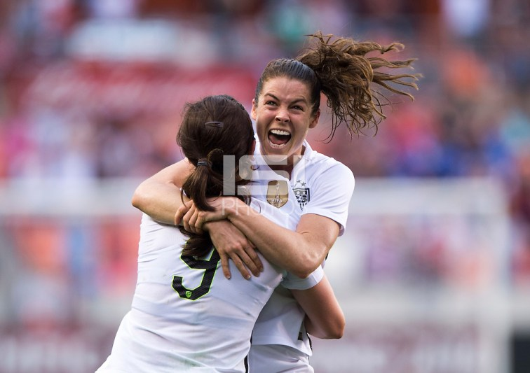 Kelley O'Hara, Lindsey Horan -- Houston, TX - February 21, 2016: The USWNT defeated Canada 2-0 during the CONCACAF Women's Olympic Qualifying Tournament final at BBVA Compass Stadium. (Brad Smith/isiphotos.com)