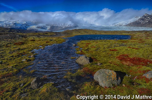 Pond and Mossy Field Below the Hvannadalshnjukur Glacier in Southeastern Iceland. HDR Composite of three images taken with a Fuji X-T1 camera and Zeiss 12 mm f/2.8 lens (ISO 200, 12 mm, f/16) (David J Mathre)