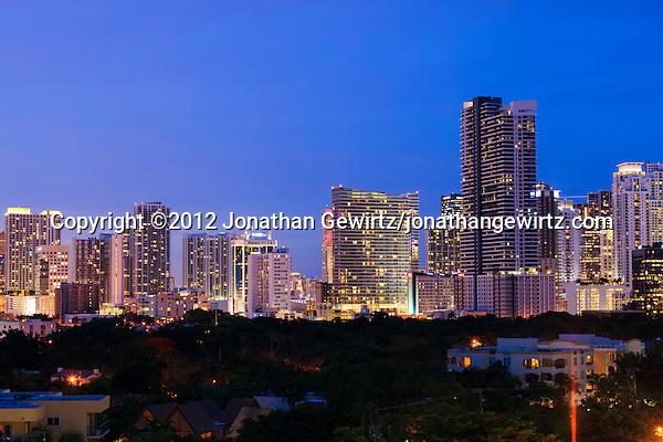 Downtown Miami high-rise condominium and office buildings at night as viewed from Brickell Avenue. (© 2012 Jonathan Gewirtz / jonathan@gewirtz.net)