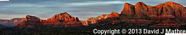 Sedona Panorama at Sunset. Composite of 11 images taken with a Nikon 1 V2 camera and 32 mm f/1.2 lens (ISO 200, 32 mm, f/5.6, 1/40 sec). (David J Mathre)