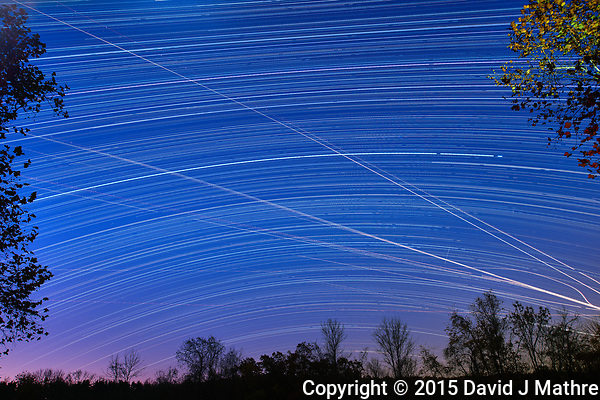 Star and jet trails. Southern view from my backyard. Composite of images taken with a Nikon D810a camera and 24 mm f/3.5 PC-E lens (ISO 200, 24 mm, f/5.6, 120 sec). (David J Mathre)