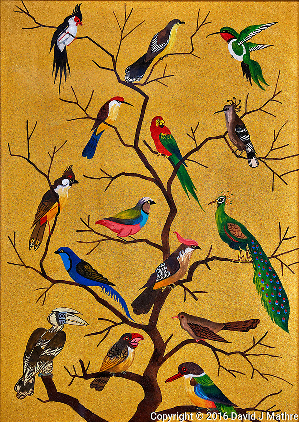 Birds on a tree. Sand painting from Burma. Image taken with a Fuji X-T1 camera and 16-55 mm f2.8 lens (ISO 200, 55 mm, f/2.8, 1/13 sec) (David J Mathre)