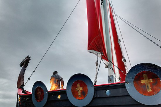 Replica of Viking ship Vallhalla at Bojer Wikan Fishermen's Memorial Park, Petersburg, Alaska, USA (Brad Mitchell)