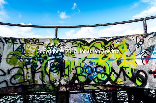 Miami's Marine Stadium on Virginia Key is located next to a U-shaped lagoon once used for powerboat racing. The stadium was damaged in the 1992 hurricane and abandoned. Since then it has been a favorite venue for graffiti artists and urban explorers. (Jonathan.Gewirtz@gmail.com)