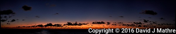 Dawn from the deck of the MV World Odyssey while traveling across the Pacific Ocean. Composite of six images taken with a Fuji X-T1 camera and 23 mm f/1.4 lens (ISO 200, 23 mm, f/2, 1/60 sec). Images processed with Capture One Pro, Kolor AutoPano Giga Pro and Photoshop CC. (David J Mathre)