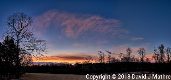 Winter Backyard Dawn Sky in New Jersey. Composite of 8 images taken with a Fuji X-T1 camera and 16 mm f/1.4 lens (ISO 200, 16 mm, f/8, 1/60 sec). Raw images processed with Capture One Pro and the composite generated using AutoPano Giga Pro. (David J Mathre)