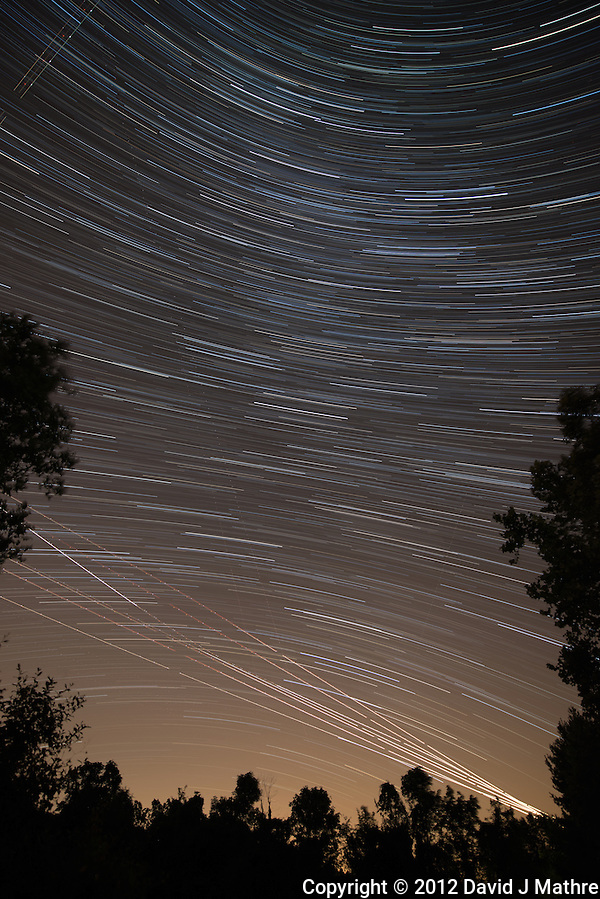 Startrails Looking For Perseid Meteors. Summer Night Sky in New Jersey. Composite of images taken between 2300h and 2400h with a Nikon D800 and 14-24 mm f/2.8 lens (ISO 400, 14 mm, f/2.8, 30 sec) using the Startrails program. (David J Mathre)
