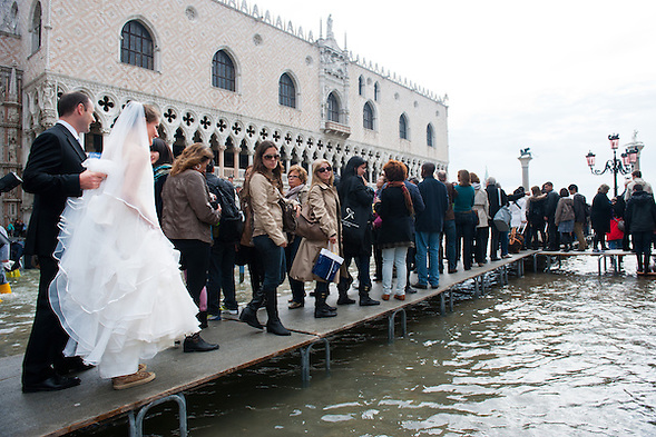 Today saw the first high tide of the season in Venice with water reading  the level at sea f 110 centimetres above sea level (Marco Secchi)