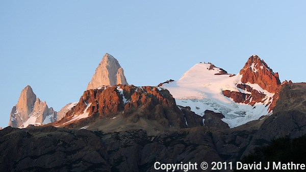 Patagonia Dawn from Hosteria El Pilar in El Chalten, Argentina. Image taken with a Nikon D3s and 70-300 mm VR lens (ISO 200, 82 mm, f/5.6, 1/80 sec). (David J Mathre)
