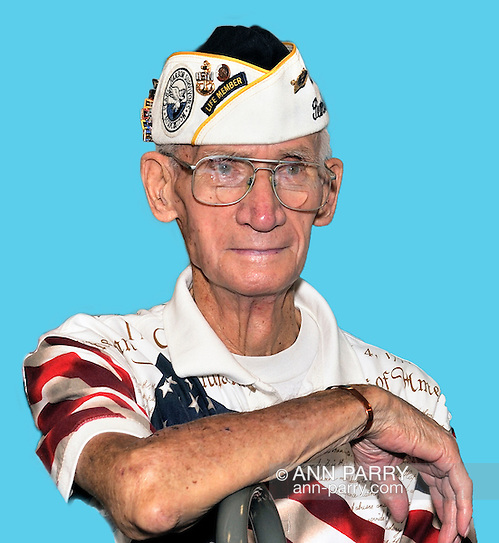 Merrick, NY, USA. August 13, 2011. William Halleran, Pearl Harbor survivor, and member of Merrick Post 1282 of American Legion. digital background (© 2011 Ann Parry, Ann-Parry.com)