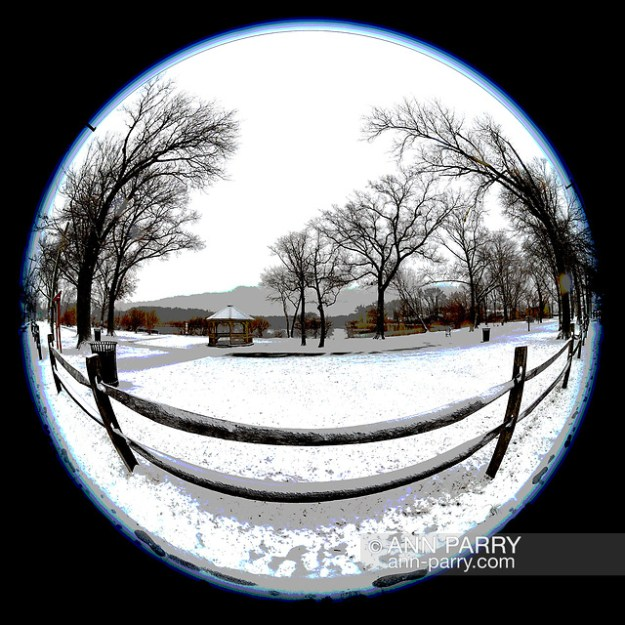 Wantagh, New York, USA. February 20, 2019. Split rail wood fence and beyond at Mill Pond Park on Long Island. 180 degree fisheye view. (© 2019 Ann Parry/Ann-Parry.com)