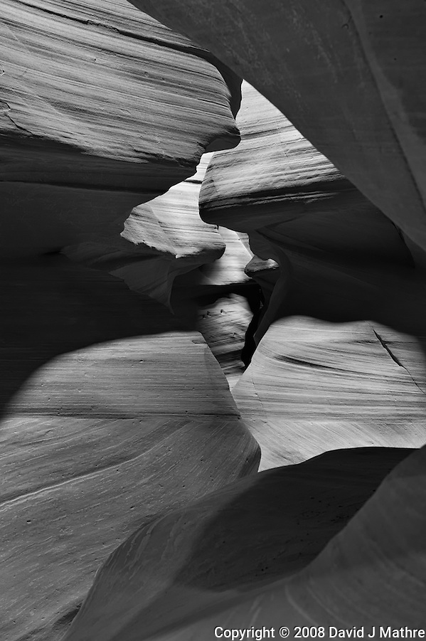 Upper Antelope Canyon, Page Arizona. Image taken with a Nikon D3 camera and 24-70 mm f/2.8 lens (ISO 200, 48 mm, f/16, 6 sec). Image processed with Capture One Pro. Converted to B&W with NIK Silver Efex Pro 2 (David J Mathre)