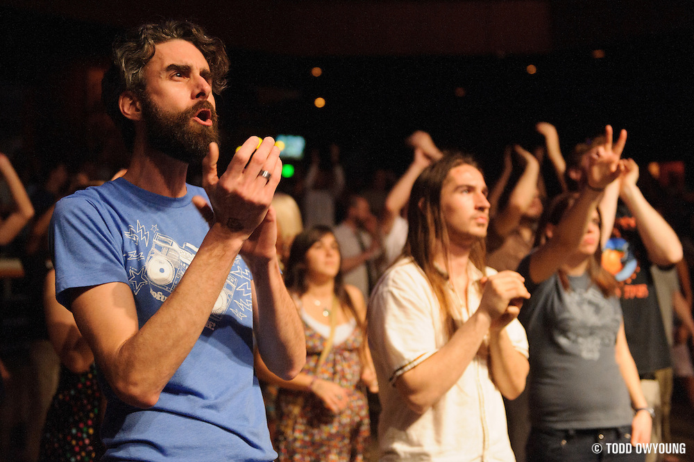 Fans during Galactic's performance at the Pageant in St. Louis on March 14, 2012. (TODD OWYOUNG)