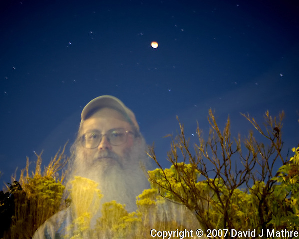 Accidental Ghostly Self Portrait Taken During a Lunar Eclipse. Boulder Colorado, 28-August-2007. Image taken with a Nikon D2xs and 14 mm f/2.8 lens (ISO 400, 14 mm, f/2.8, 30 sec). (David J Mathre)