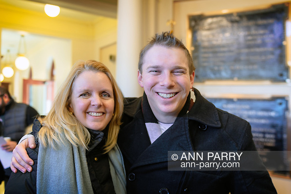 Mineola, NY, USA. Jan. 1, 2018. L-R, Nassau County Legislators DEBRA MULE, 55, (Freeport - 5th Dist. - Democrat) and JOSHUA LAFAZAN, 23, (Syosset - 18th Dist. - Ind.) are in Theodore Roosevelt Executive & Legislative Building after attending the outdoor swearing-In of Laura Curran as Nassau County Executive. Lafazan is the county's youngest ever legislator. Mule has Curran's former Legislative seat. (© 2018 Ann Parry/Ann-Parry.com)