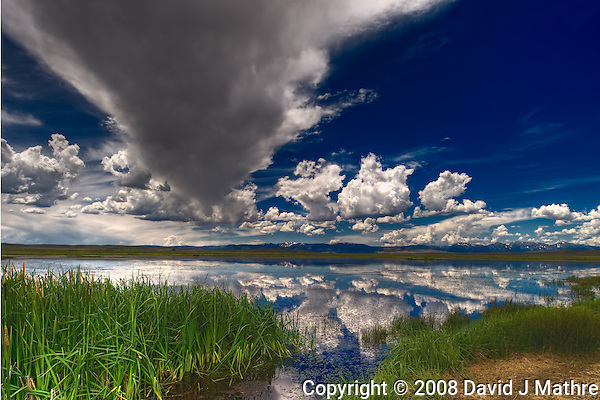 Summer Panorama Cloud and Sky Reflections at a Lake in Arapaho National Wildlife Refuge. Composite of 3 images taken with a Nikon D3 and 24 mm f/3.5 PC-E lens (ISO 200, 24 mm, f/16, 1/100 sec). (David J Mathre)