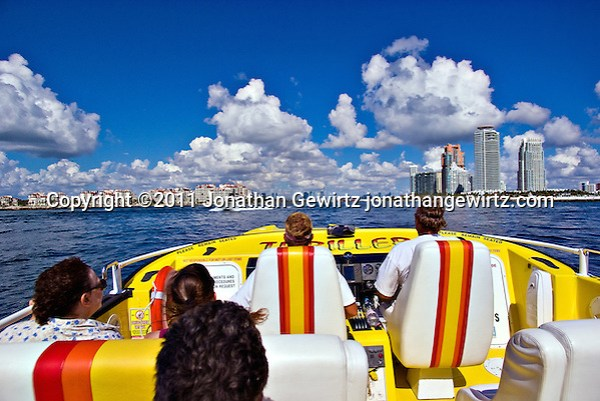 Thriller speedboat tour enters Government Cut with downtown Miami straight ahead, Fisher Island ahead left and Miami Beach ahead right. (Jonathan Gewirtz)