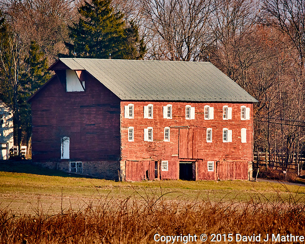 Red Barn. Late autumn monthly Sunday walk in the park. Hobler Park, Montgomery Township, New Jersey. Image taken with a Nikon 1 V3 camera and 70-300 mm VR lens. (David J Mathre)