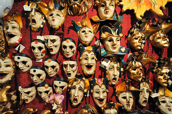 Masks on display inside the workshop of Mascareri in Venice. Artisans, masks and costumes makers are getting ready ahead of Venice Carnival 2013 (Marco Secchi)