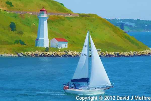 Sailboat and Lighthouse in the Halifax Harbor. Image taken with a Nikon 1 V1 camera and 30-110 mm VR lens (ISO 100, 93.5 mm, f/8, 1/320 sec). Watercolor effect applied using a Topaz Simplify/Painterly filter. (David J Mathre)