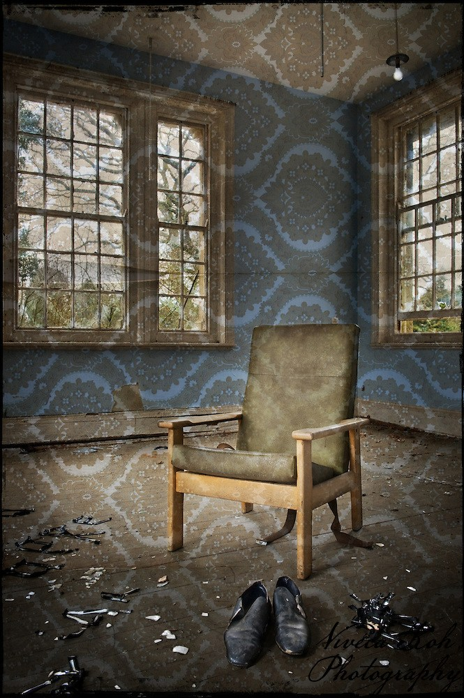 Chair and shoes at Hellingly Asylum (Viveca Koh)