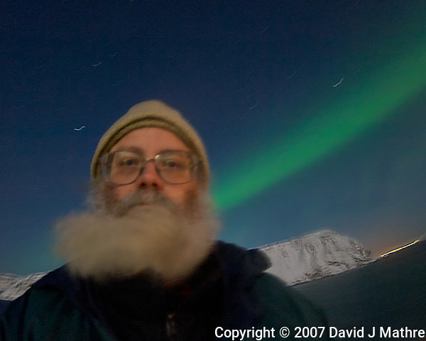 Northern Lights Self Portrait. Image taken with a Nikon D2xs camera and 10.5 mm f/2.8 fisheye lens (ISO 400, 10.5 mm, f/2.8, 10 sec). (David J Mathre)