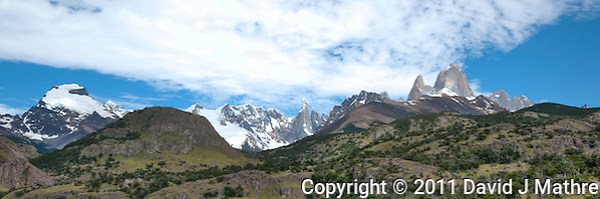 Patagonia Panorama. Image taken with a Nikon D3x and 16-28 mm f/4 VR lens (ISO 100, 31 mm,  f/11, 1/200 sec). Five image HDR with Photomatix. (David J. Mathre)