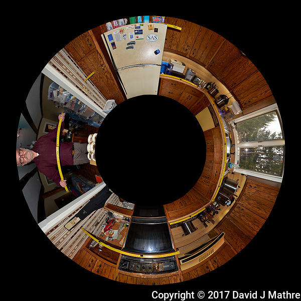 The Kitchen Before Renovation. Little Planet View (from above) of the Kitchen. Composite of 25 images taken every 15 degrees with a Fuji X-T1 camera and 16 mm f/1.4 lens (ISO 400, 16 mm, f/8, 1/60 sec), popup flash. Image processed with Capture One Pro and AutoPano Giga Pro (David J Mathre)