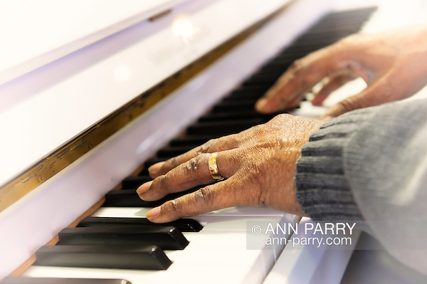 Close-up of Booker T Gibson's hands as he plays piano at Northport VA medical Center, on Dec. 19, 2011. Light vignette. (Ann Parry/Ann Parry, Ann-Parry.com)