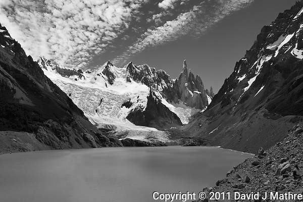 Panorama of Laguna Torre taken on a hike from El Chalten in Parque Nacional Los Glaciares while on a Photography Workshop in Patagonia with Thom Hogan. Composite of 4 mages taken with a Nikon D3x and 50 mm f/1.4G lens (ISO 100, 50 mm, f/11, 1/40 sec). Converted to B&W with Nik Silver Efex Pro. . (David J Mathre)