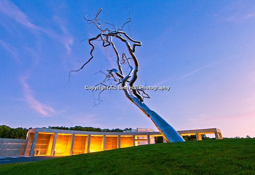 The entrance at Crystal Bridges Museum of American Art on Tuesday, June 11, 2013, in Bentonville, Ark., showcases a sculpture by Roxy Paine titled Yield. (Beth Hall)