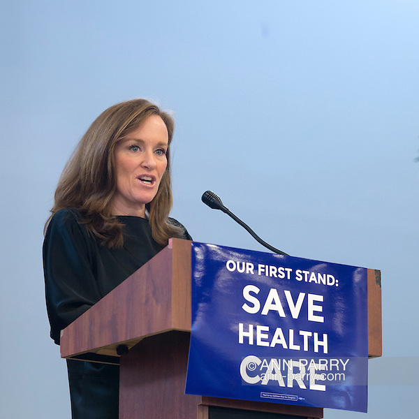 "Westbury, New York, USA. January 15, 2017. Representative KATHLEEN RICE (Democrat - 4th Congressional District) is speaking at the ""Our First Stand"" Rally against Republicans repealing the Affordable Care Act, ACA, taking millions of people off health insurance, making massive cuts to Medicaid, and defunding Planned Parenthood. Hosts were Reps. T. Suozzi (Dem. - 3rd Congress. Dist.) and Rice. It was one of dozens of nationwide Bernie Sanders' rallies for health care that Sunday. (Ann Parry/Ann Parry, ann-parry.com)"