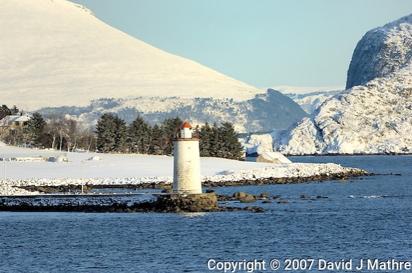Lighthouse while Traveling to Ålesund. Image taken with a Nikon D2xs and 80-400 mm VR lens (ISO 200, 400 mm, f/8.5, 1/320 sec). (David J. Mathre)