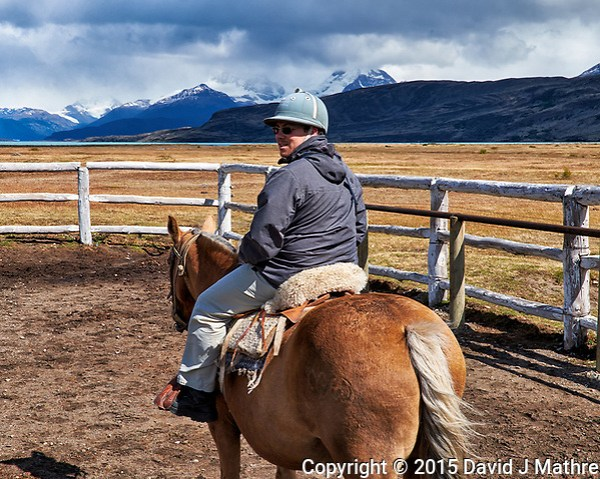 About to go horse ride in Patagonia from Estancia Christina. Image taken with a Fuji X-T1 camera and Zeiss 32 mm lens (ISO 200, 32 mm, f/11, 1/250 sec). (David J Mathre)