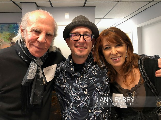 Huntington, NY, USA. March 29, 2019. L-R, artist Stephen Wyler, Juror Benjamin Owens and artist Jan Guarino pose during HAC Reception for Lowbrow Art Exhibition. (© 2019 Ann Parry/Ann-Parry.com)