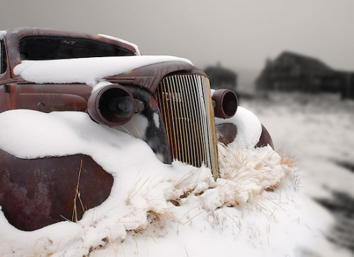 1937 vintage Chevrolet master deluxe coupe covered in snow, Bodie State Historic Park, California, USA (Brad Mitchell)