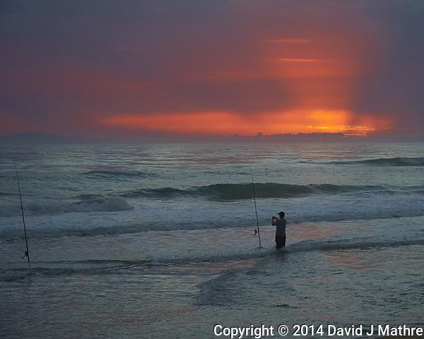 Surf Fishing at Dawn. Playalinda Beach, Canaveral National Seashore in Florida. Image taken with a Nikon D700 camera and 28-3 00 mm VRlens (ISO 500, 85 mm, f/5.6, 1/320 sec). (David J Mathre)