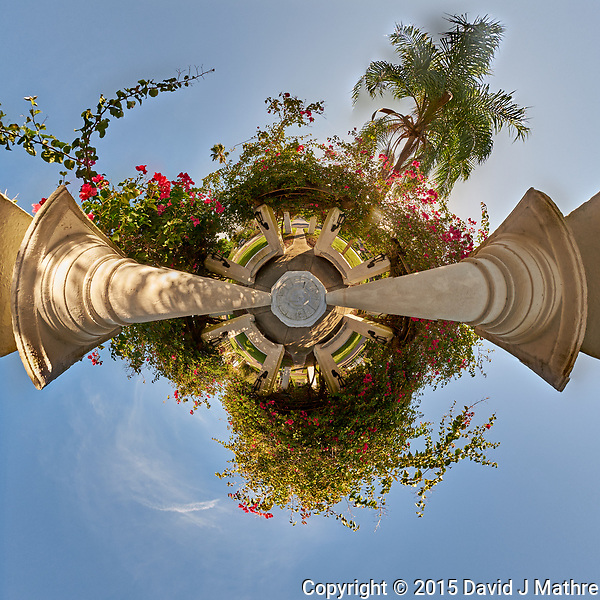 Little Planet View of Granada Terrace Park in St. Petersburg, Florida. Composite of 27 images taken with a Fuji X-T1 camera and 8 mm f/2.8 fisheye lens. Images processed with AutoPano Giga Pro. (David J Mathre)