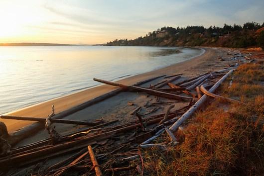 Sandy beach at sunrise, Fort Worden State Park, Port Townsend, Washington, USA (Copyright Brad Mitchell Photography.9601 Wall St.Snohomish, WA 98296.USA.425-418-7279.brad@bradmitchellphoto.com)