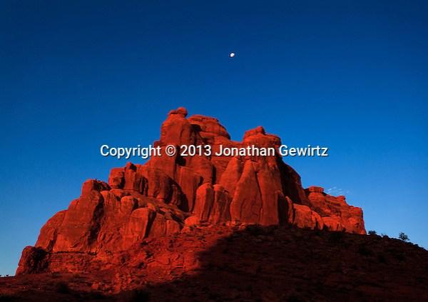 The rising sun illuminates red rocks in Arches National Park, Utah. (Jonathan Gewirtz   jonathan@gewirtz.net)