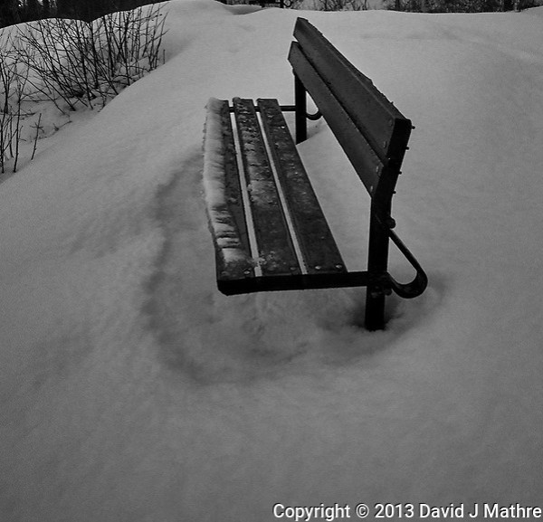 Lonely bench in the snow. Trondheim overlook. Image taken with a Nikon 1 V2 camera and 10 mm f/2.8 lens (ISO 800, 10 mm, f/2.8, 1/60 sec). (David J Mathre)